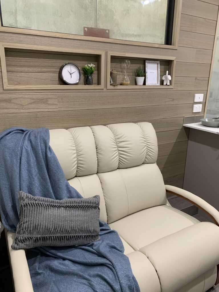 Tiny Homes Perth The WInd Change Tiny Homes LaZBoy couch